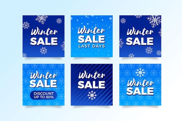 Colección de publicaciones de redes sociales de rebajas de invierno vector gratuito