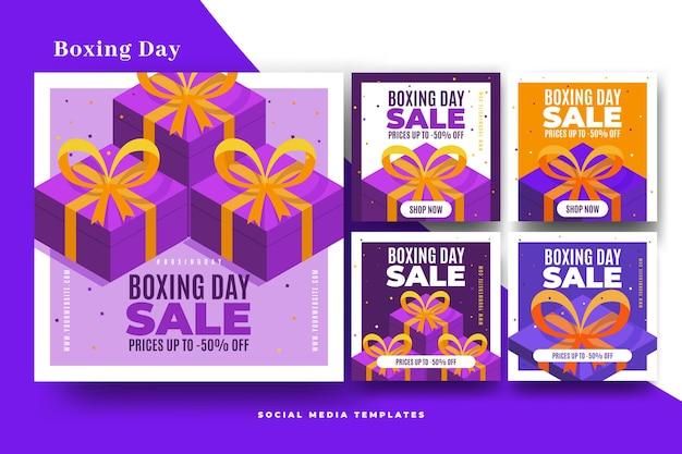Colección de publicaciones de venta de instagram boxing day vector gratuito