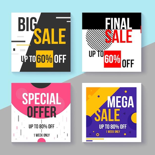 Colección de publicaciones de ventas de instagram vector gratuito