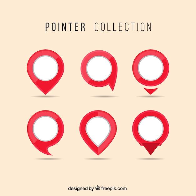 Colección de punteros blancos y rojos Vector Premium