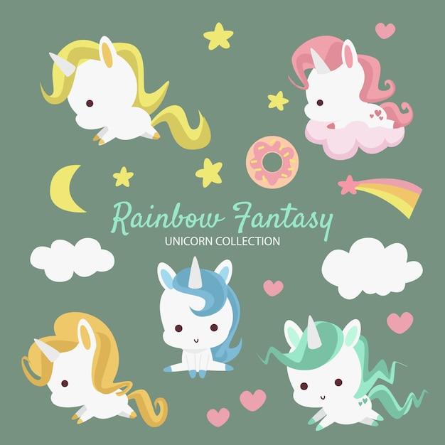 Colección rainbow fantasy unicorn Vector Premium
