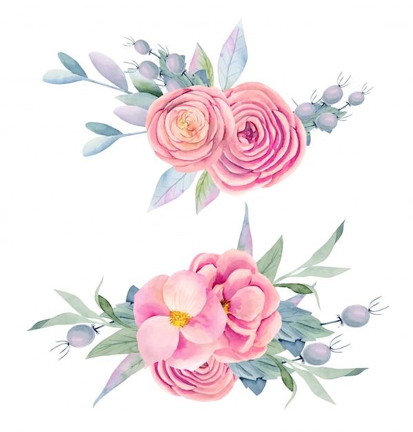 Colección de ramos de acuarela aislados de rosas hermosas rosas, peonías, bayas decorativas, hojas verdes y ramas Vector Premium