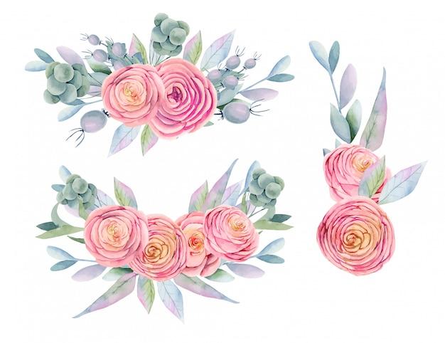 Colección de ramos de acuarelas aislados de rosas rosadas hermosas, bayas decorativas, hojas y ramas verdes, pintadas a mano Vector Premium
