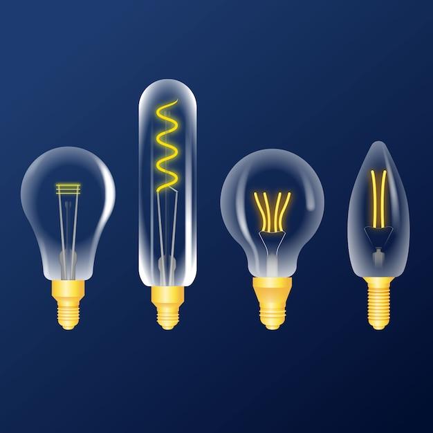 Colección realista de bombillas vector gratuito