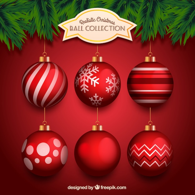 Colecci n realista de bolas rojas de navidad descargar - Bolas de navidad rojas ...