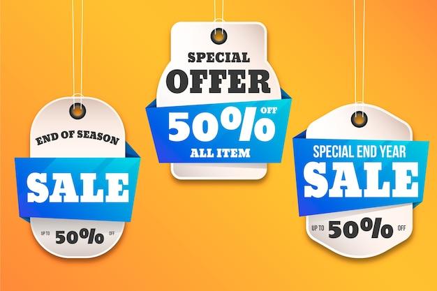 Colección realista de etiquetas colgantes de ventas Vector Premium