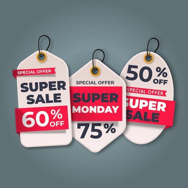 Colección realista de etiquetas colgantes de ventas vector gratuito