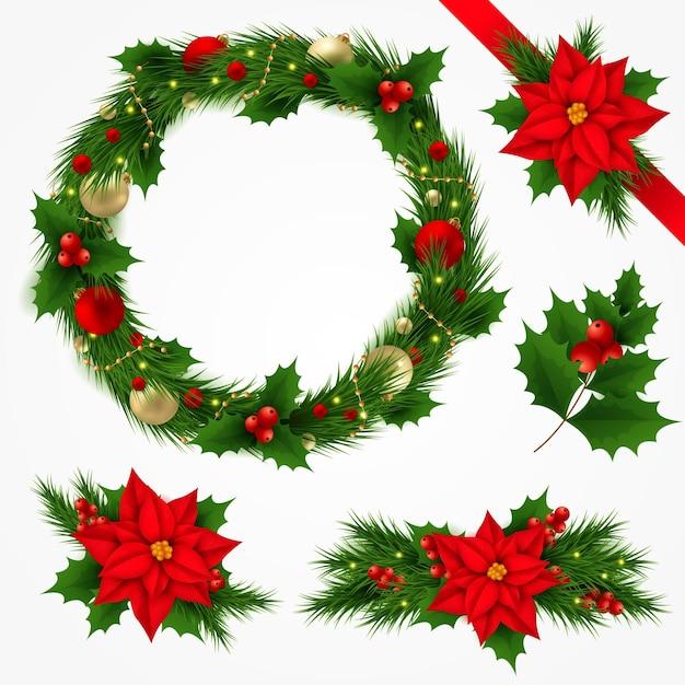 Colección realista de guirnaldas y flores navideñas vector gratuito