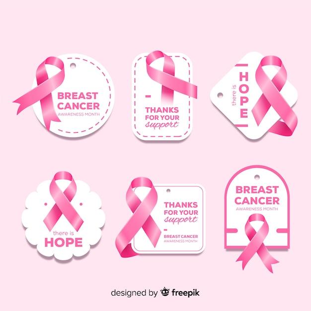 Colección realista de insignias de concientización sobre el cáncer de mama vector gratuito