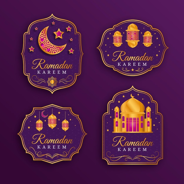 Colección realista de insignias de ramadán vector gratuito
