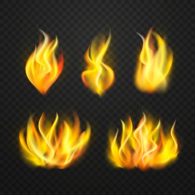 Colección realista de llamas de fuego vector gratuito