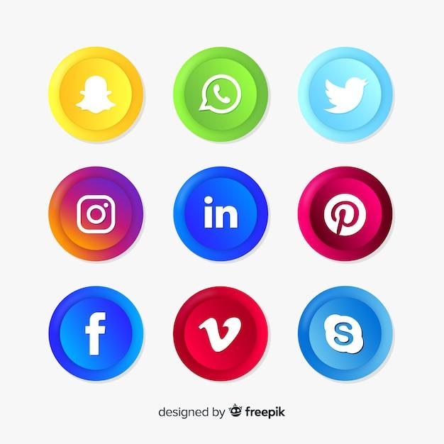 Colección realista de logos de redes sociales vector gratuito