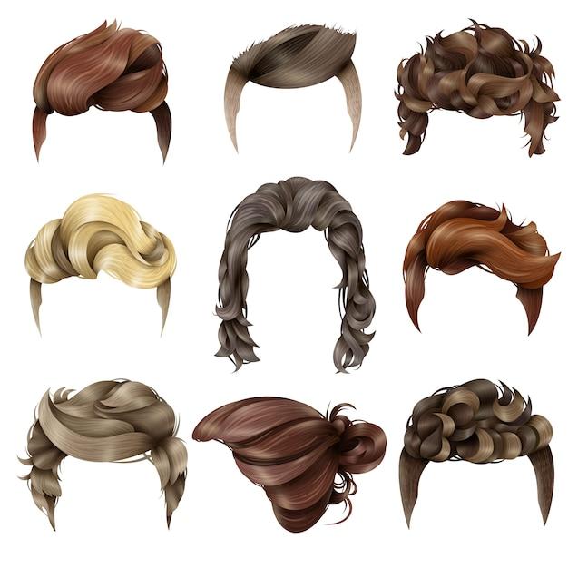 Colección realista de peinado masculino vector gratuito