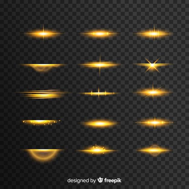 Colección realista de ráfagas de luz vector gratuito