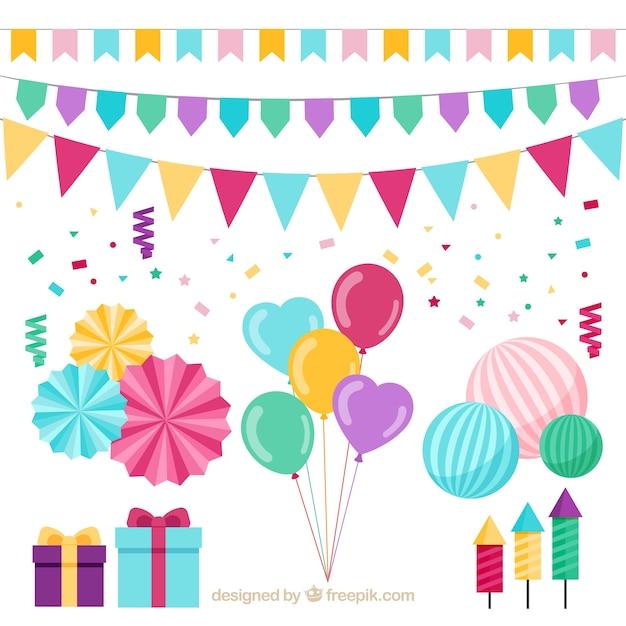 Colección de regalos y decoración de cumpleaños Vector Premium