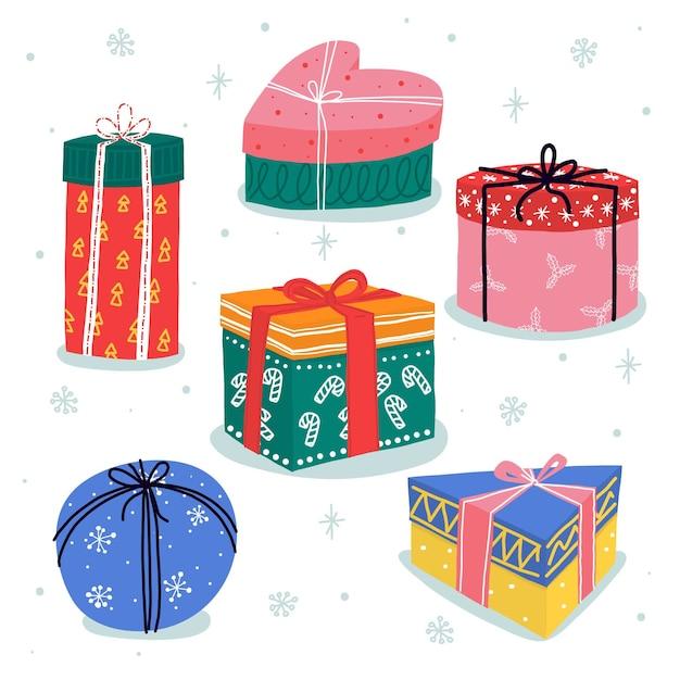 Colección de regalos de navidad dibujados a mano vector gratuito