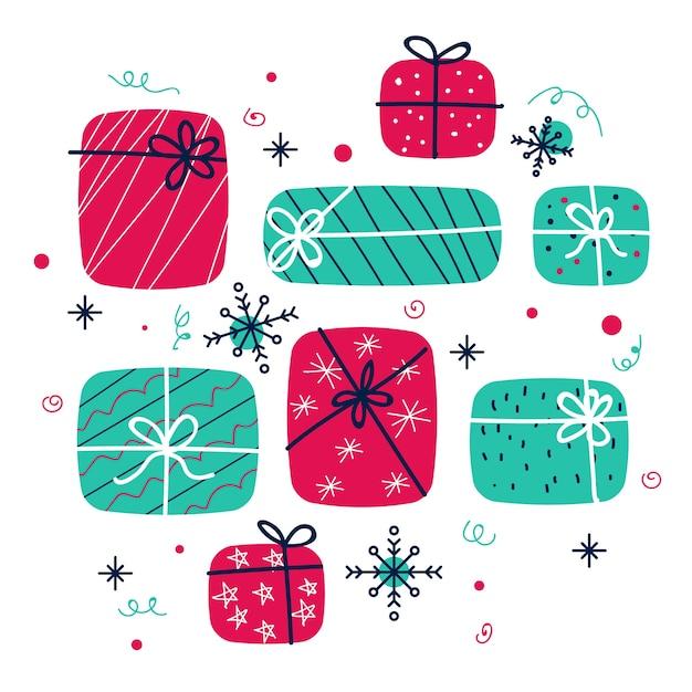 Colección de regalos de papá noel en diseño plano vector gratuito