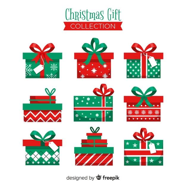 Colección regalos planos navidad vector gratuito