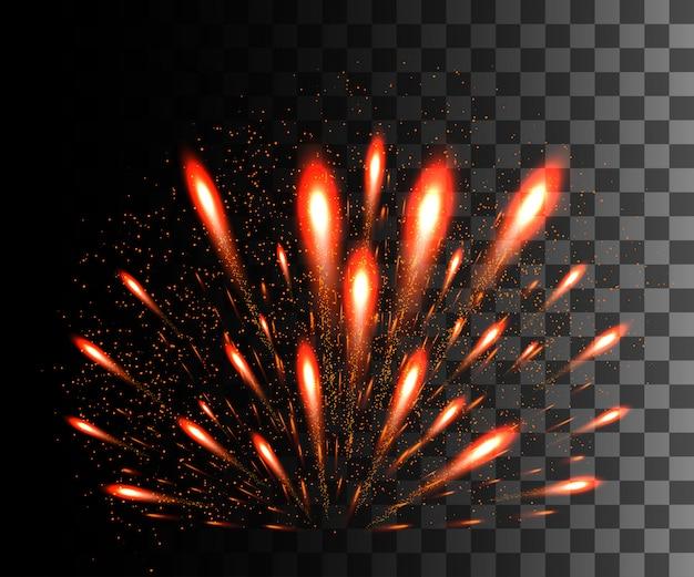 Colección resplandeciente. fuegos artificiales rojos, efectos de luz sobre fondo transparente. destello de lente de luz solar, estrellas. elementos brillantes. fuegos artificiales de vacaciones. ilustración Vector Premium