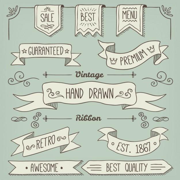 Colección de ribbons dibujados a mano vector gratuito