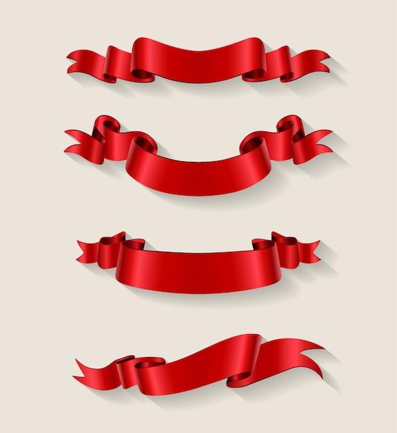 Colección de ribbons rojos vector gratuito