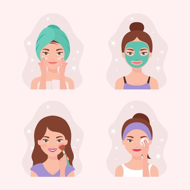 Colección de rutina para el cuidado de la piel de las mujeres Vector Premium
