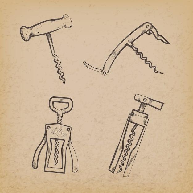 Colección de sacacorchos retro sobre papel. vector gratuito