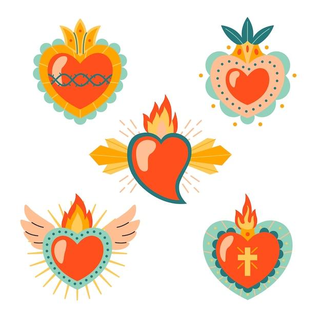 Colección sagrado corazón vector gratuito