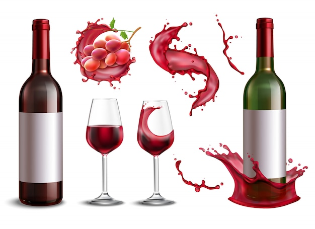 Colección de salpicaduras de vino con imágenes realistas aisladas de botellas de vino tinto racimo de uvas y vasos ilustración vector gratuito
