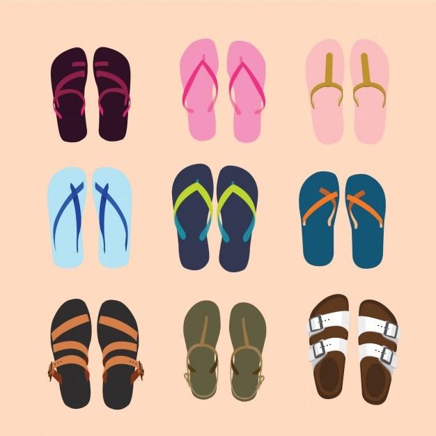 Colección de sandalias vector gratuito