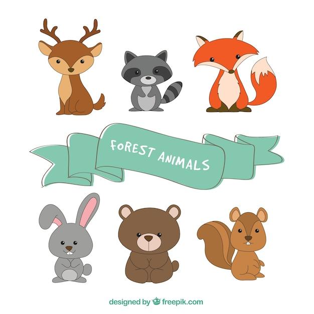 Colección de seis animales de bosque vector gratuito