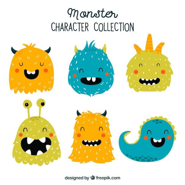 Colección de seis monstruos Vector Premium