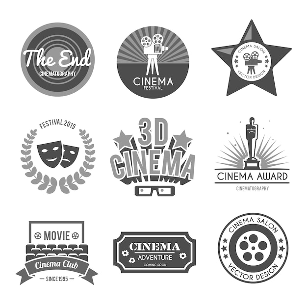 Colección de sellos de cine negro. vector gratuito