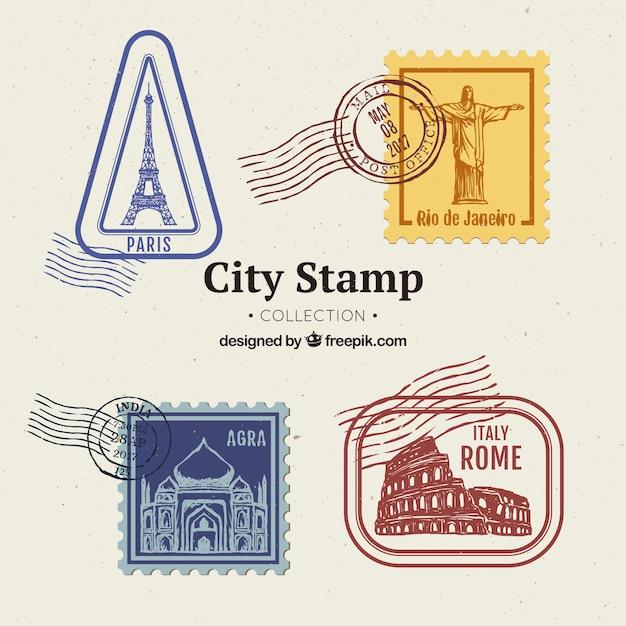 Colección de sellos de ciudades vector gratuito