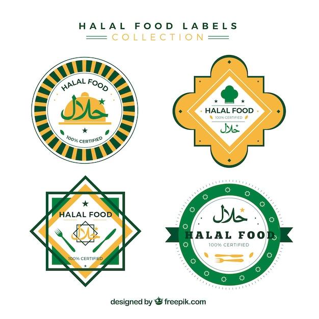 Colección de sellos de comida halal con diseño plano vector gratuito
