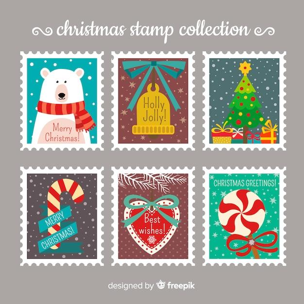 Colección de sellos de navidad vector gratuito