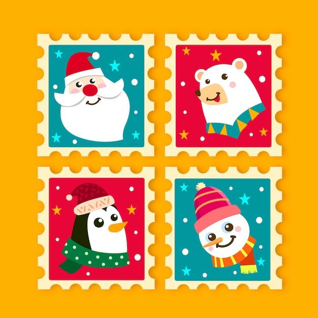 Colección de sellos navideños dibujados a mano vector gratuito