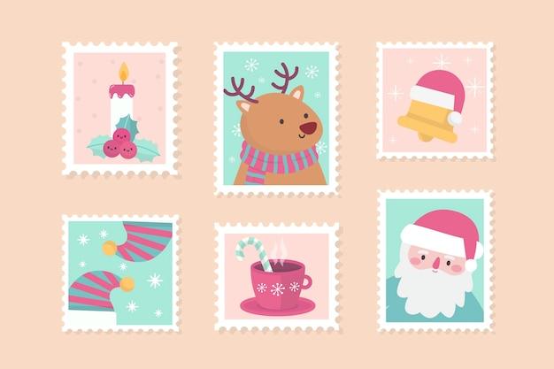 Colección de sellos navideños de diseño plano vector gratuito