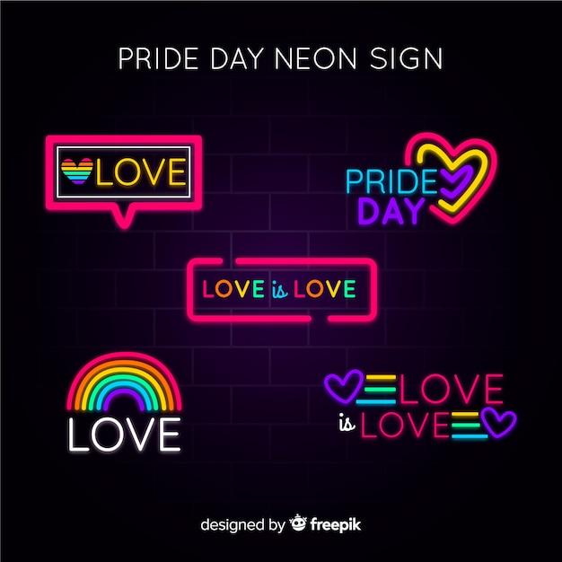 Colección de señales del día del orgullo lgbt en luz neón vector gratuito