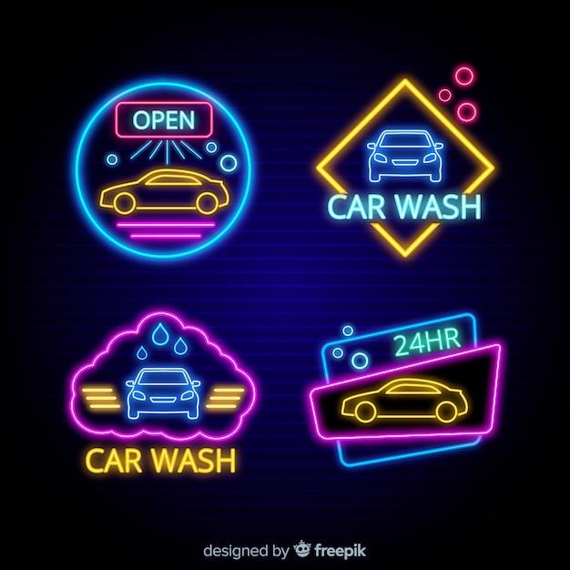 Colección señales neón lavadero de coches vector gratuito