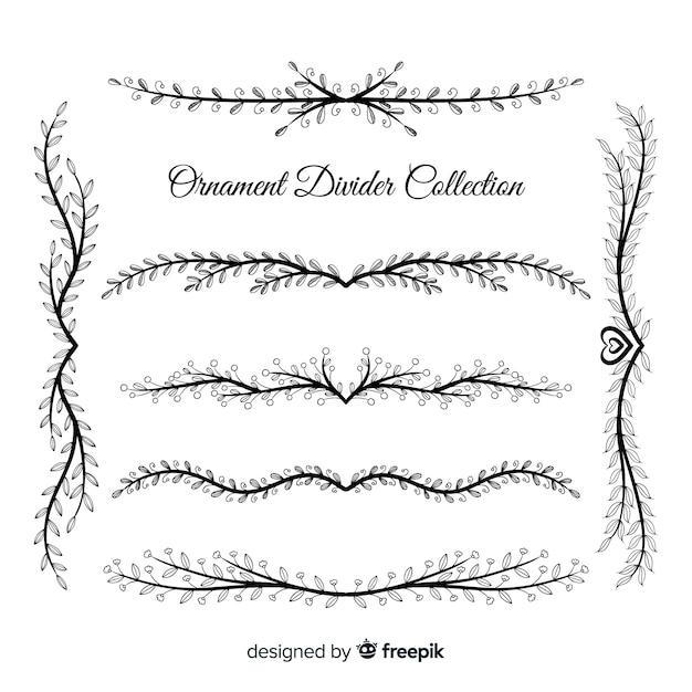 Colección de separadores ornamentales dibujados a mano vector gratuito
