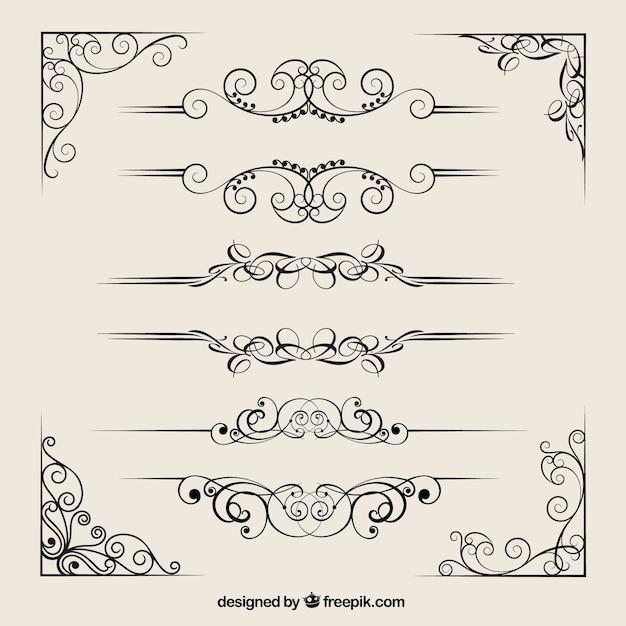 Colección separadores ornamentales vector gratuito