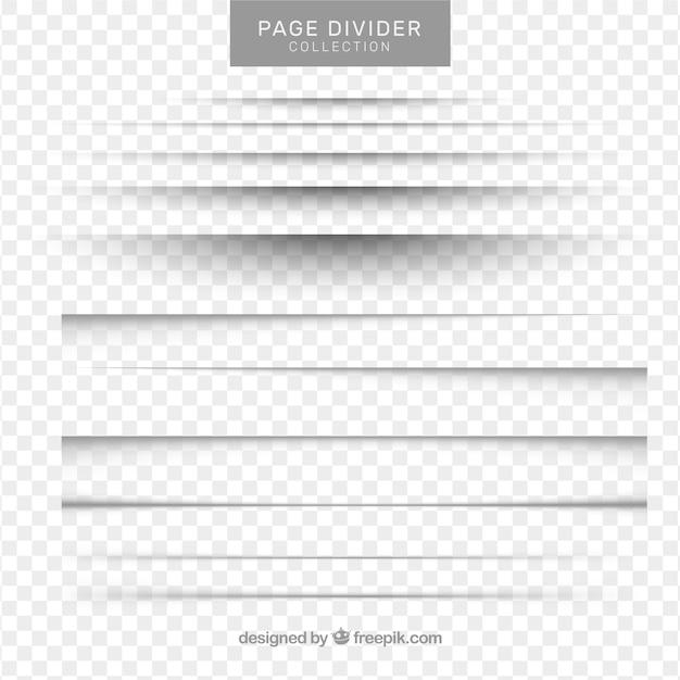 Colección de separadores de página sin fondo vector gratuito