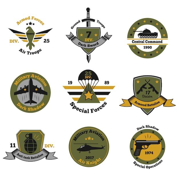 Colección service insignia emblem vector gratuito