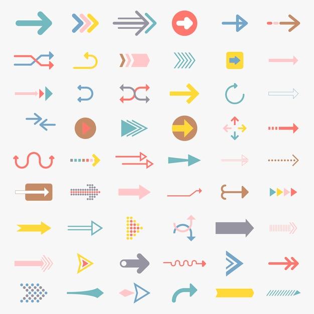 Colección de signos de flecha ilustrada vector gratuito