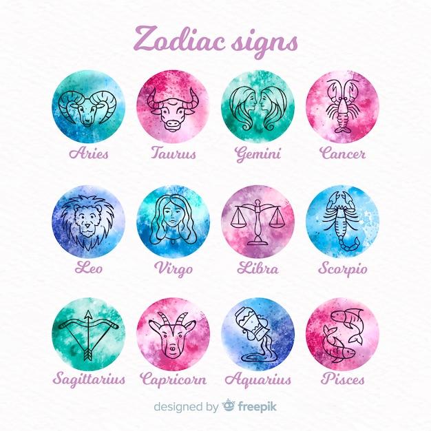 Colección signos zodíaco acuarela degradada vector gratuito