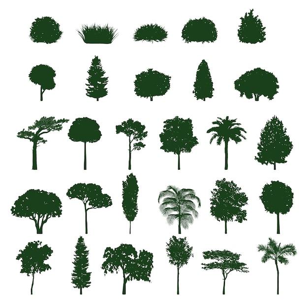 Colección de silueta de árbol vector gratuito