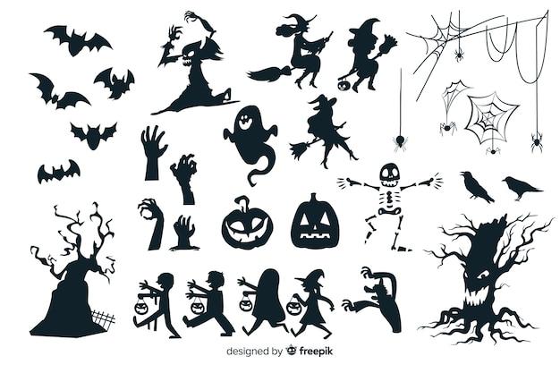 Colección de silueta de halloween vector gratuito