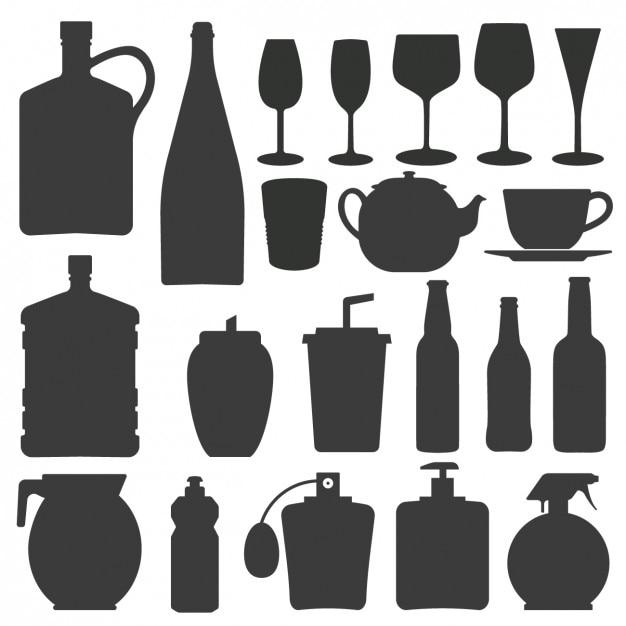 Colección de siluetas de botellas y vasos vector gratuito