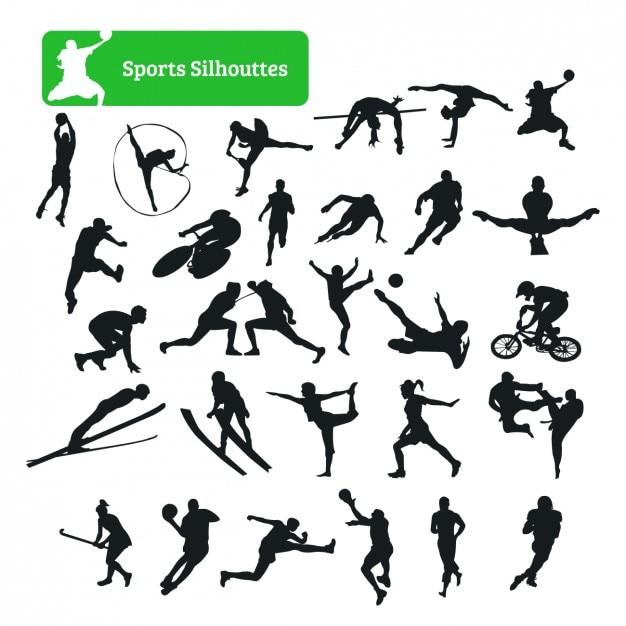 Colección de siluetas de deporte vector gratuito